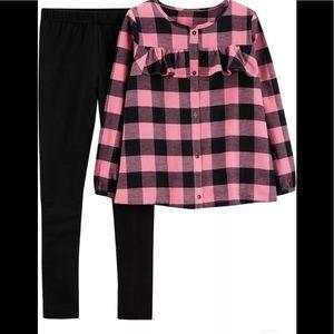 NWT Carters Girls 2-Piece Plaid Flannel Set